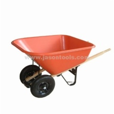 Wheelbarrow with dual-wheel and wooden handles